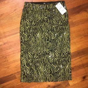 Zara Neon Green Zebra Sequin Skirt